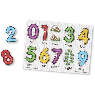 Melissa & Doug Classic Wooden Peg Puzzles, Set of 3, Numbers, Alphabet, and Colors   555346892