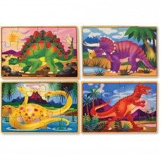 Melissa & Doug Dinosaurs 4-in-1 Wooden Jigsaw Puzzles in a Storage Box, 48pc   555346859