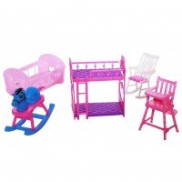 Dolls Accessories Pretend Play Furniture Set Toys for Dolls as Xmas Gifts for Kids Style:Baby room