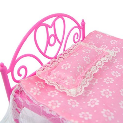 Pink Dollhouse Bedroom Furniture Mini Bed With Pillow for Barbie Dolls   567158768