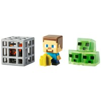 Minecraft Mini Figure 3Pk Farming Steve, Spawning Spider and Slime Cubes   554940144