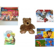 "Children's Gift Bundle [5 Piece] -  80'S Scene It? The Deluxe DVD Trivia  - Jurassic World Velociraptor ""Blue"" Figure  - Soft and Cuddly Brown Teddy Bear - My First Atlas  - Play-Along Sticker Book"