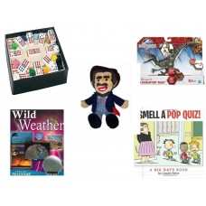 "Children's Gift Bundle [5 Piece] -  Mexican Train Double Twelve Dominoes Set - Jurassic World Velociraptor ""Blue"" Figure  - BoxCar Willie Country Music Character Doll 16"" - Wild Weather Eyes On Adve"